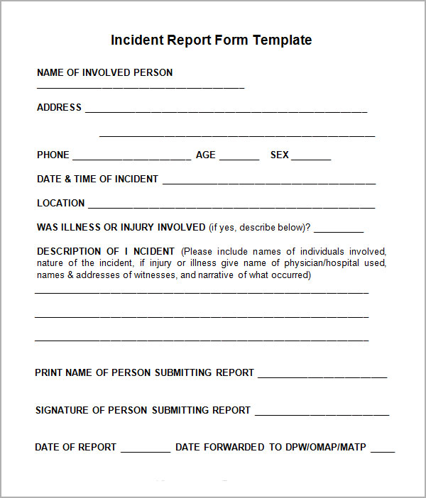 hazard incident report form template report form template