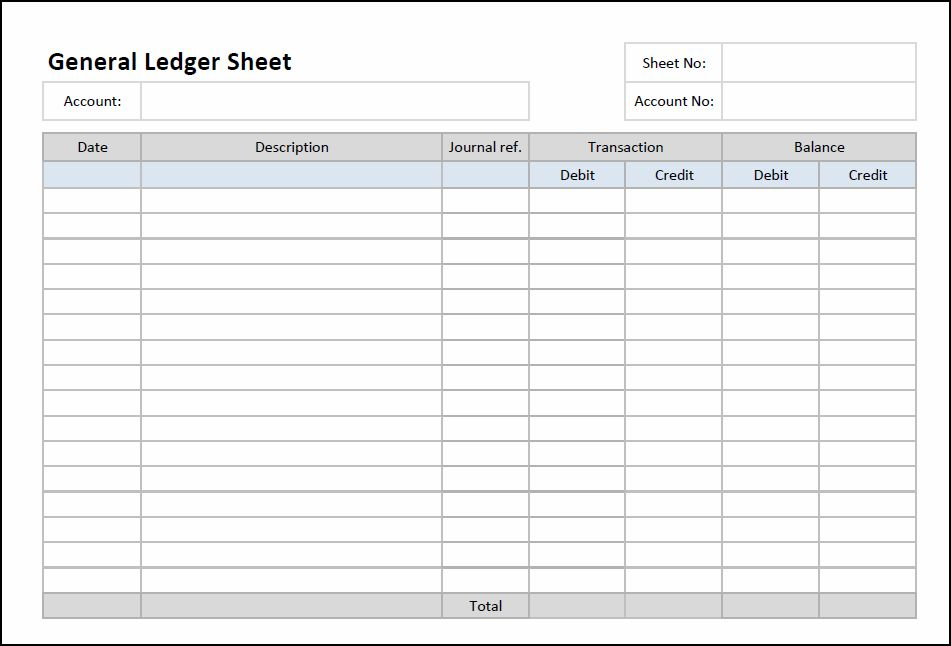 General Ledger Sheet Template | Double Entry Bookkeeping