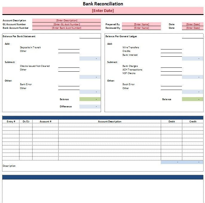 gl account reconciliation template excel   Gecce.tackletarts.co