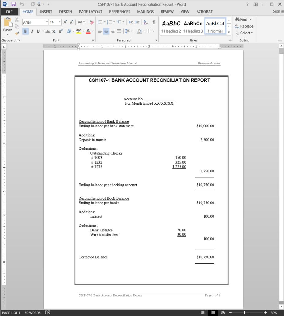 Bank Account Reconciliation Report Template