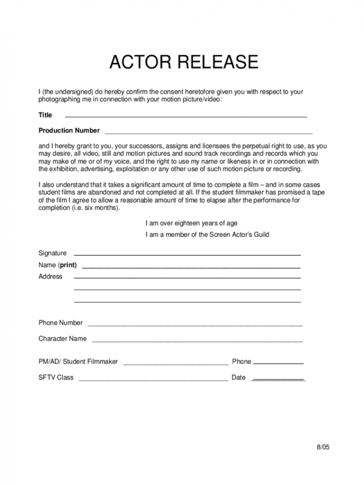 Form Actor Release Form inside Actor Release Forms   Hasnydes.us