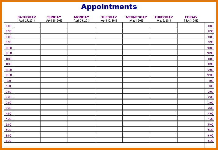 weekly appointment book template   April.onthemarch.co