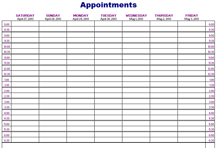Appointment Book Template | beneficialholdings.info