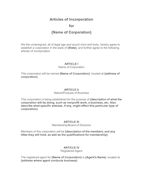 Articles of Incorporation Template