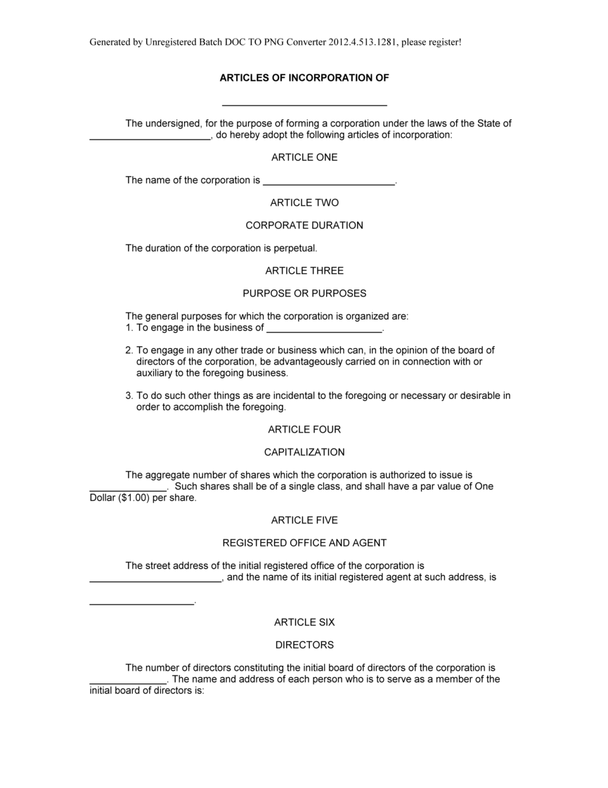 Sample Articles of Incorporation form, Blank Articles of