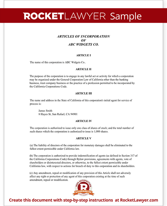 Articles of Incorporation for California (With Sample)