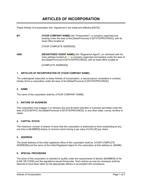 business article template articles of incorporation template