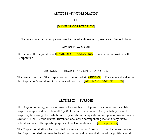 Nonprofit Articles of Incorporation | Harbor Compliance