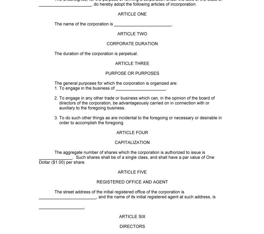 Articles Of Incorporation Template   2018 Online Resume Builder