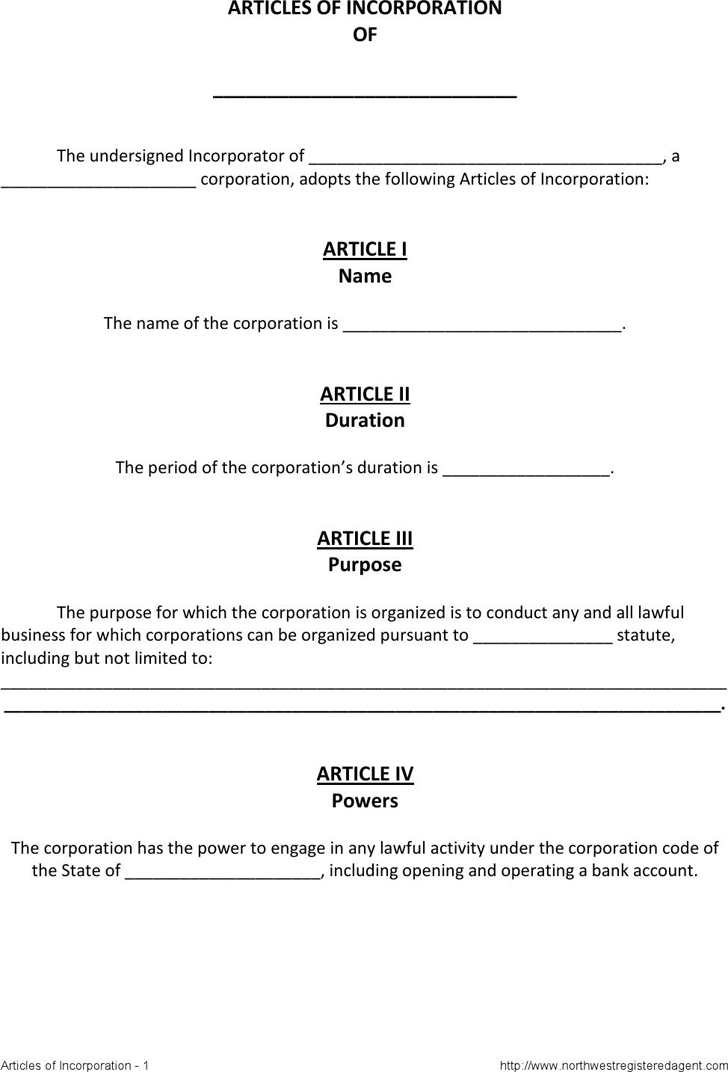 14 Articles of incorporation Templates | Templates and Samples