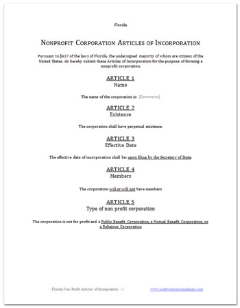 Articles of Incorporation – Free Sample Template Form
