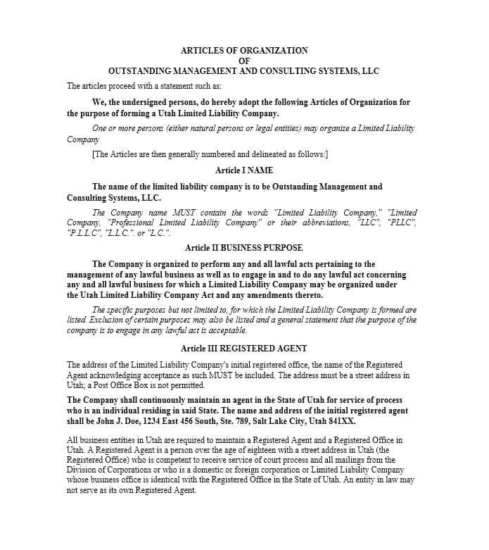 Articles of Incorporation   47 Templates for Any State   Template Lab