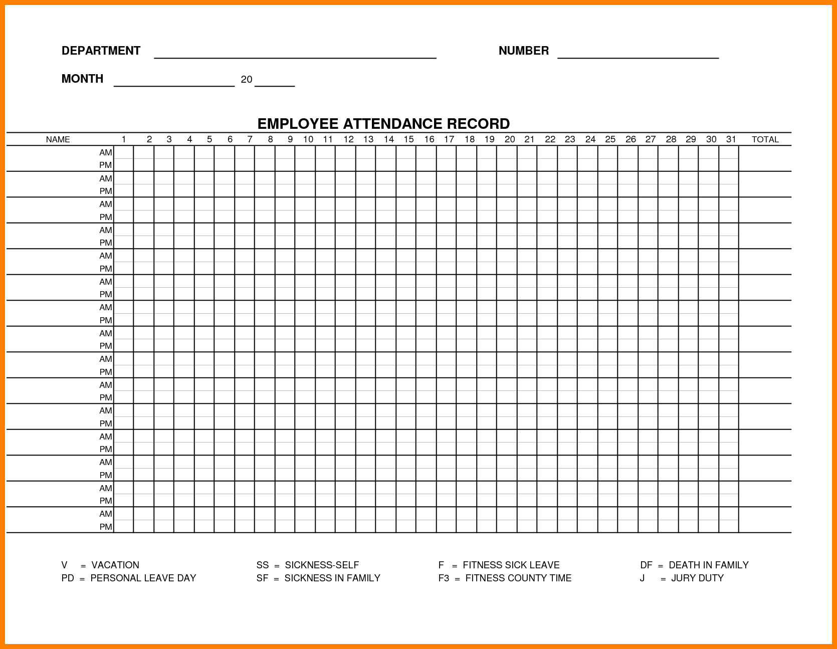 attendance record template 2014 – down town ken more