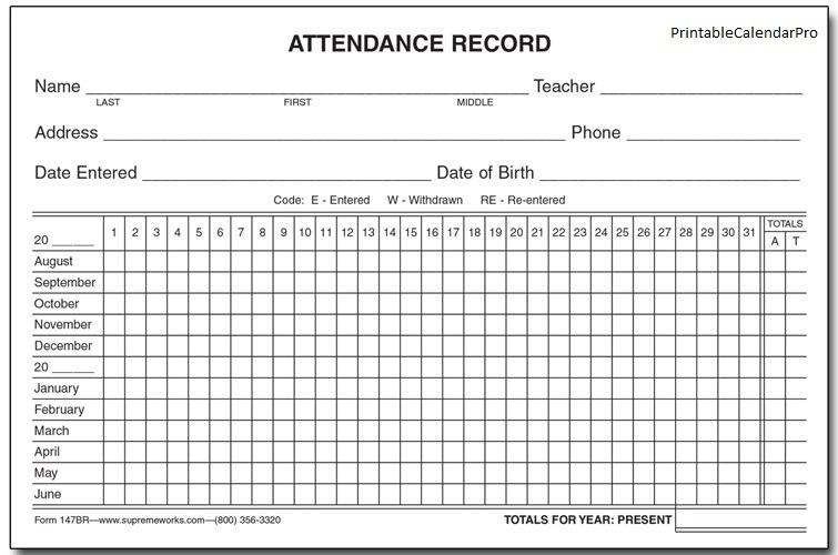 employee attendance record template   Kleo.beachfix.co
