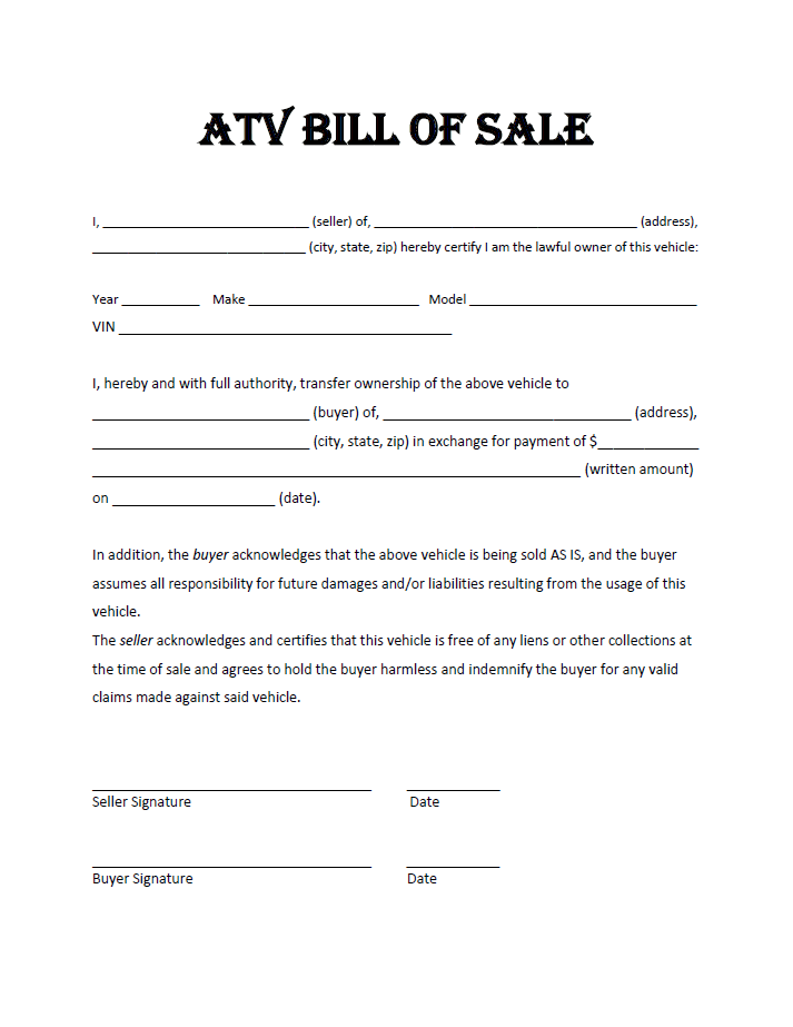 atv bill of sale template