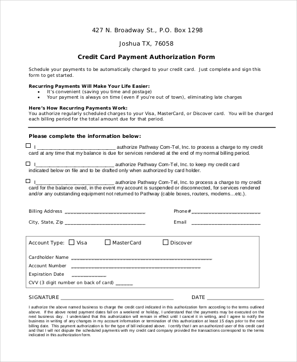 8+ Sample Credit Card Authorization Forms | Sample Templates
