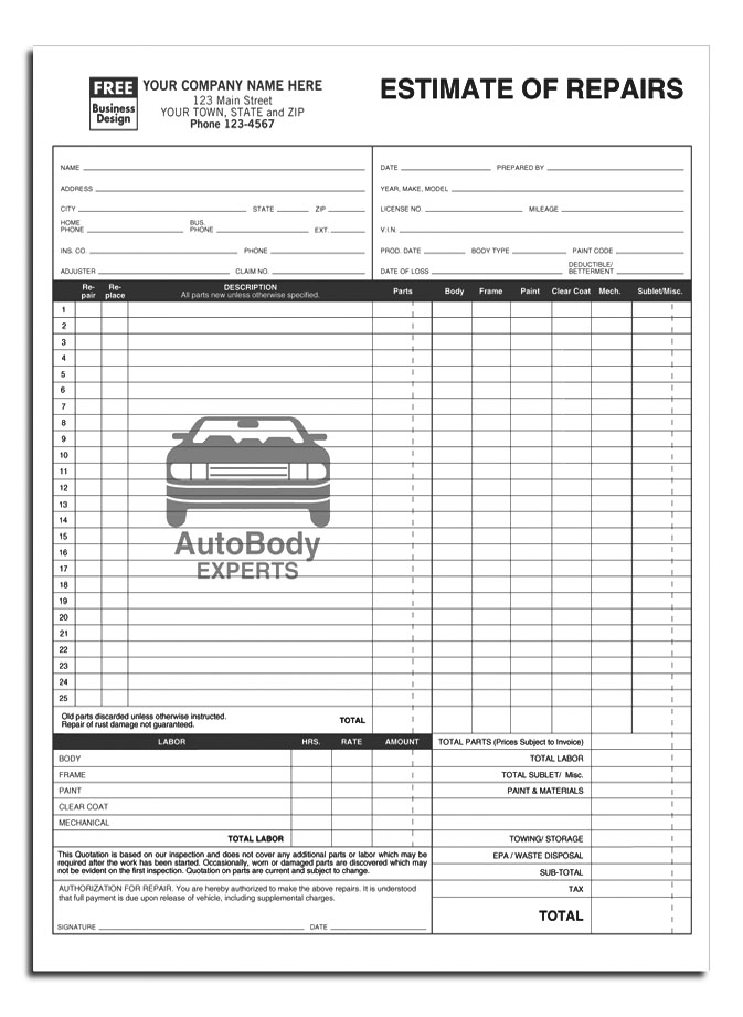 Estimate Of Auto Repairs Template