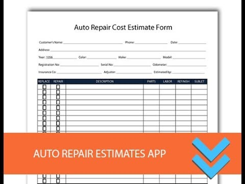 Free Auto Repair Estimates Form   Freedform.  YouTube