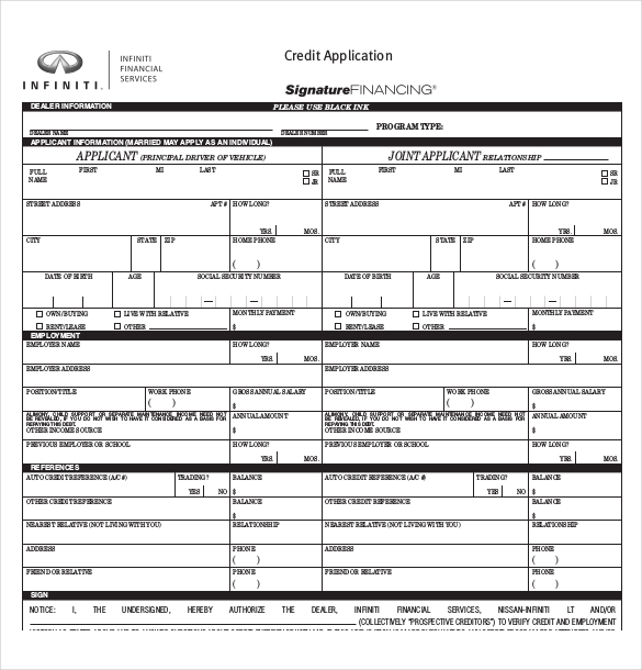 Auto Loan Credit Application Form Template