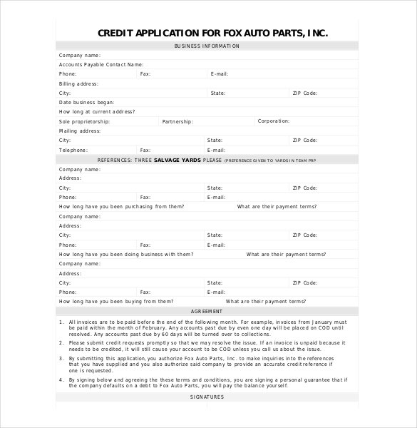 auto credit application template charlotte clergy coalition