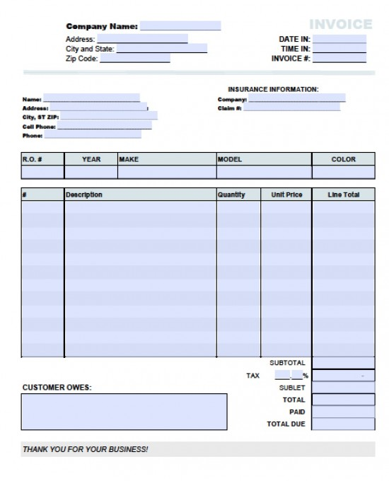Auto Repair Invoice Template