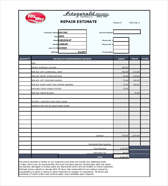 Auto Repair Estimate Template Free