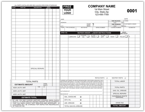 California Auto Repair Form