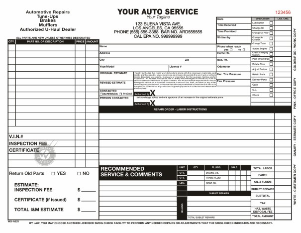 automotive repair order template   Gecce.tackletarts.co