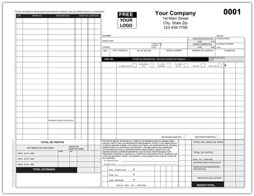 Auto Repair Shop Work Order Form