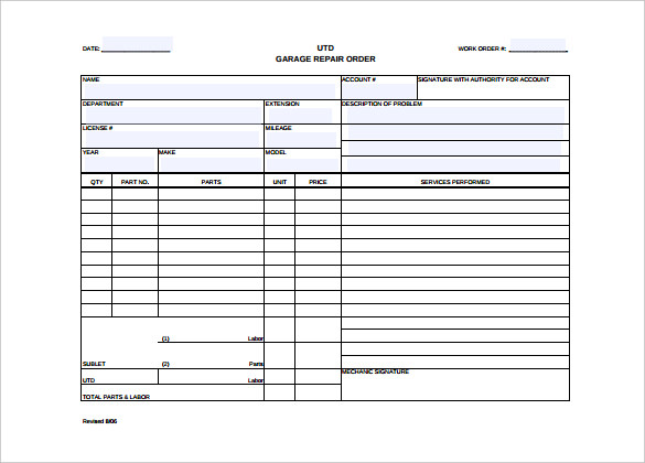 mechanic work order template word   April.onthemarch.co