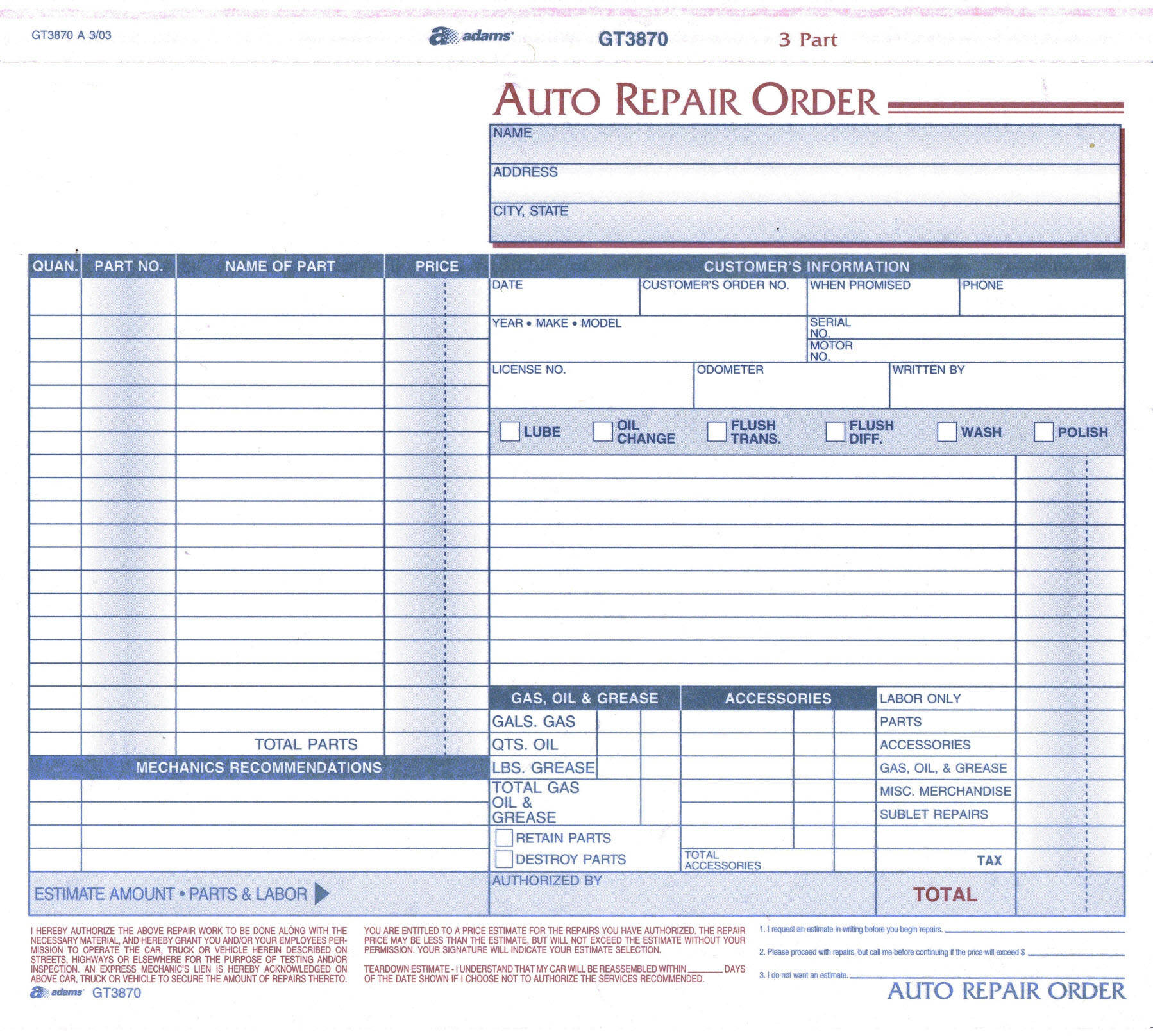 Work Order Forms Auto Repair With Carbon 3 Part 8 12 x 7 Box Of