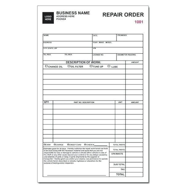 Auto Mechanic Work Order Template Awesome Auto Repair Order
