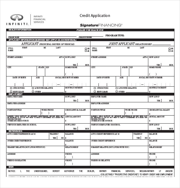 automotive credit application template   Kleo.beachfix.co