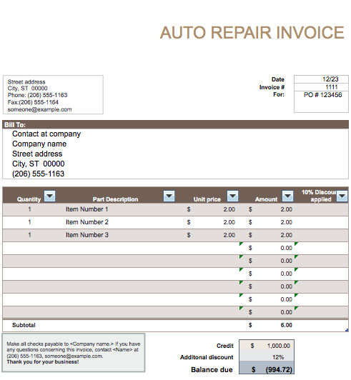 Automobile Invoices Charlotte Clergy Coalition - Auto repair invoice template word plus size online stores