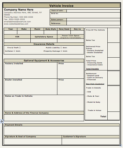 used car invoice template   Kleo.beachfix.co