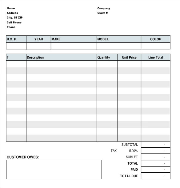 Automotive Repair Orders Templates Charlotte Clergy Coalition - Free auto repair invoice form create online store