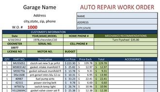 Spanish Auto Repair Work Order