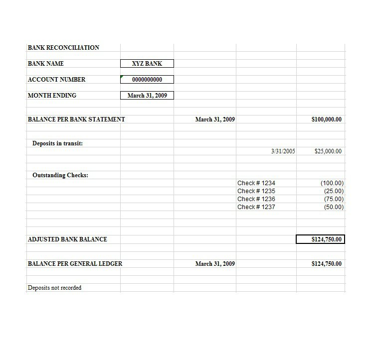 Bank Reconciliation Template   charlotte clergy coalition