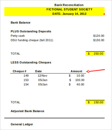 Bank Reconciliation Template   11+ Free Excel, PDF Documents