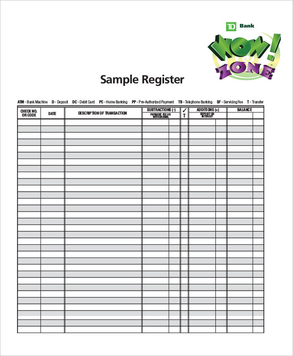 bank register templates