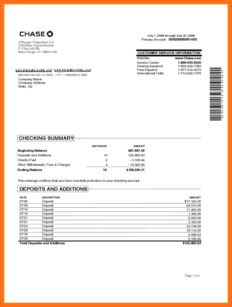 Sample Bank Statement Template All Pictures Add – Dreamswebsite