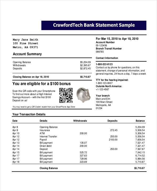 Bank Statement Template   22+ Free Word, PDF Document Downloads