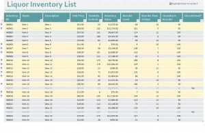 Free Bar Inventory Control Excel Template http://myexceltemplates