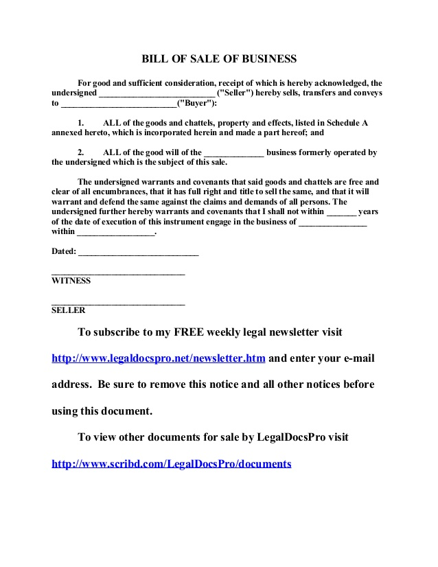 Bill of sale for business charlotte clergy coalition free sample bill of sale of business flashek Gallery