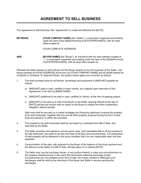 agreement of purchase and sale of business assets template bill of