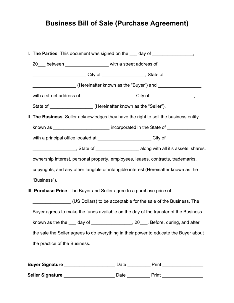 purchase agreement for a business template free  Bill Of Sale For Business Purchase | charlotte clergy coalition