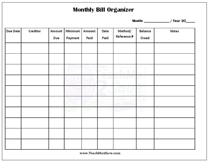 bill planner organizer   April.onthemarch.co