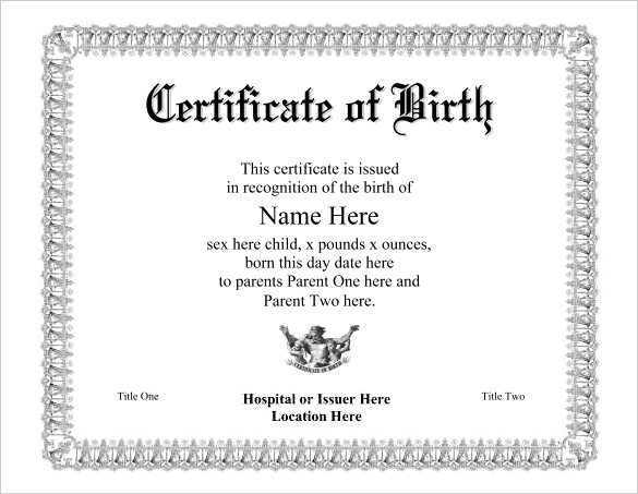 official certificate template official birth certificate template