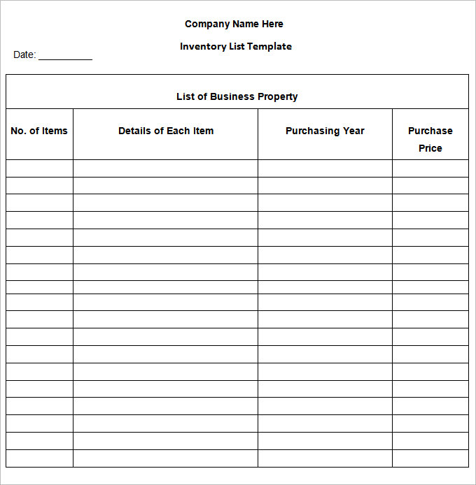 Inventory List Template   13 Free Word, Excel, PDF Documents
