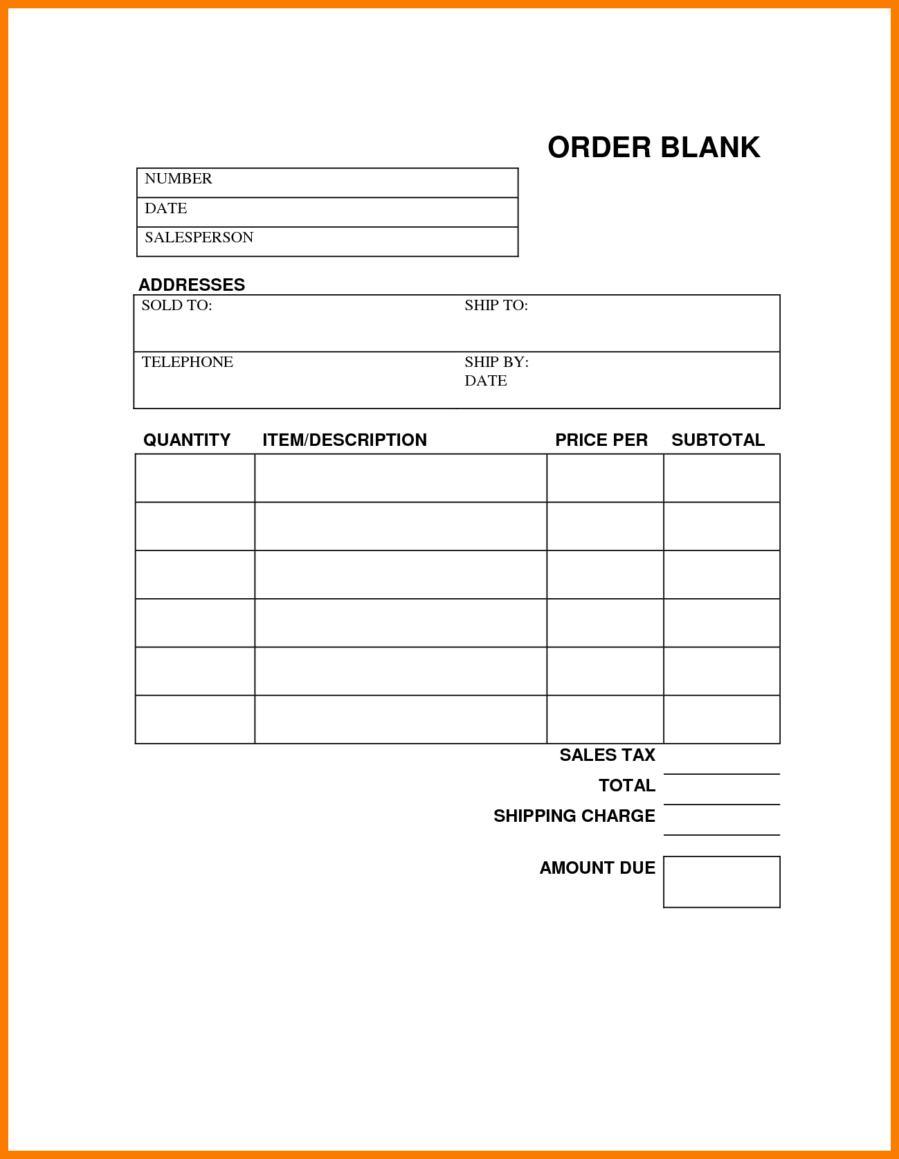 Blank Order Form Printable | charlotte clergy coalition
